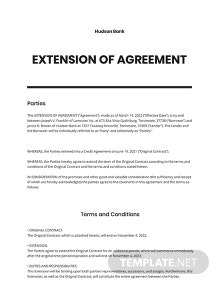 Extension of Agreement Template