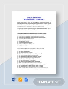 Checklist Risk Management Essentials Template