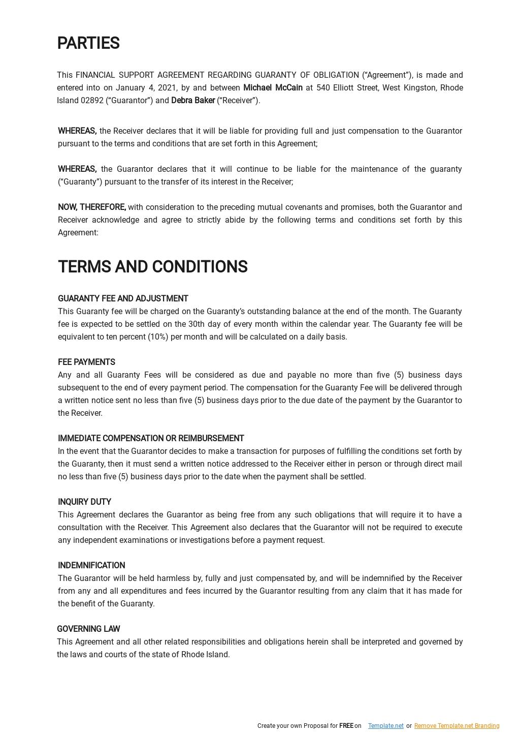 Financial Support Agreement Regarding Guaranty of Obligation Template 1.jpe
