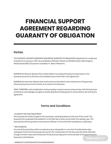 Financial Support Agreement Regarding Guaranty of Obligation