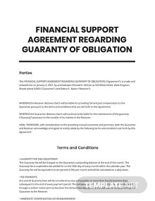 Financial Support Agreement Regarding Guaranty of Obligation Template