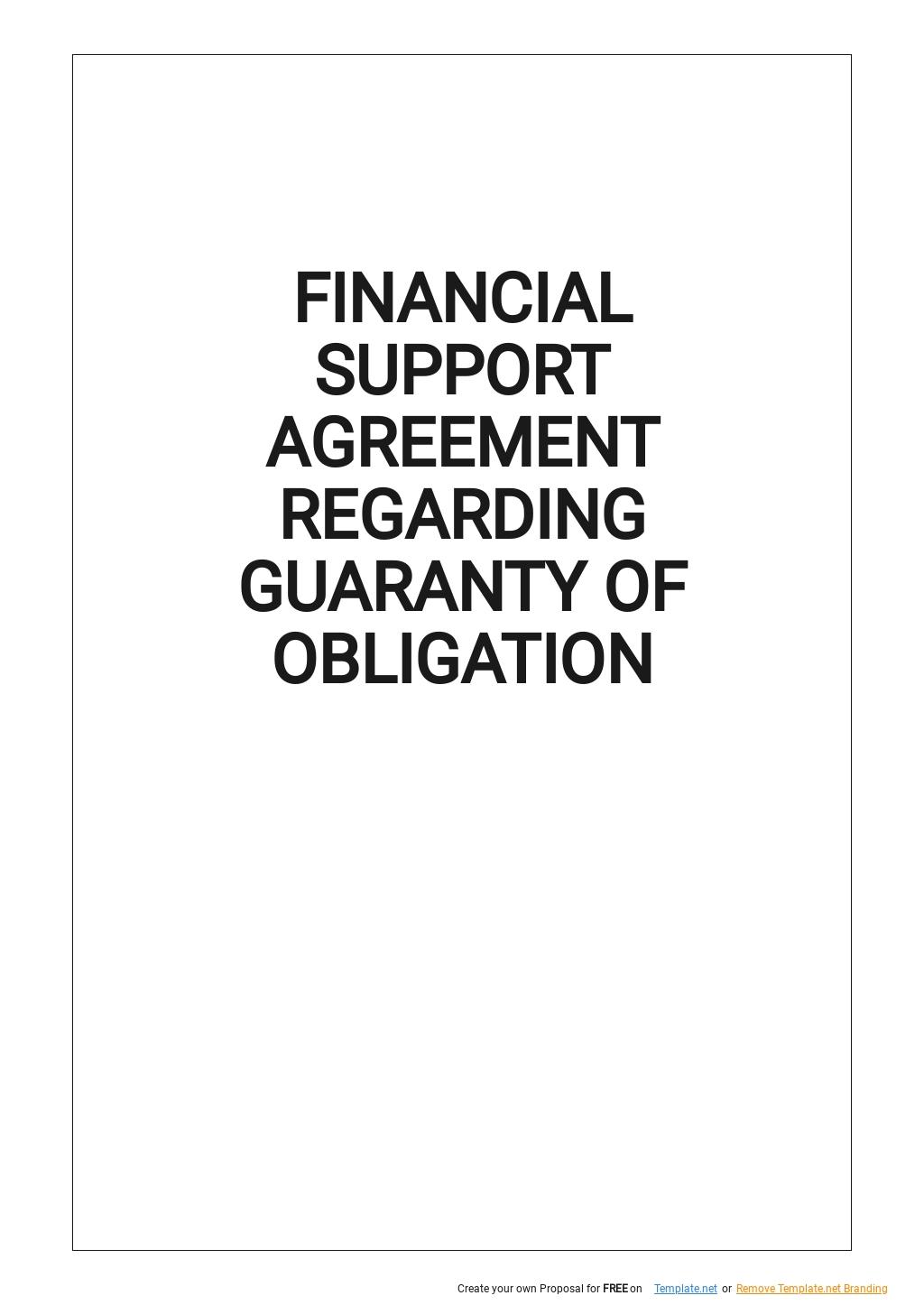 Financial Support Agreement Regarding Guaranty of Obligation Template.jpe