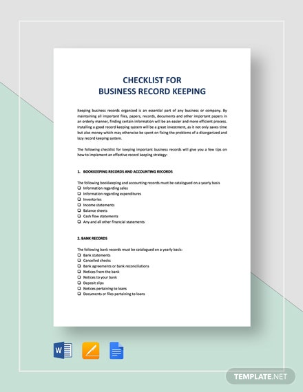 Checklist Key Record Keeping Template