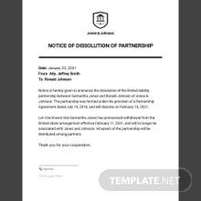 Notice of Dissolution Partnership Template