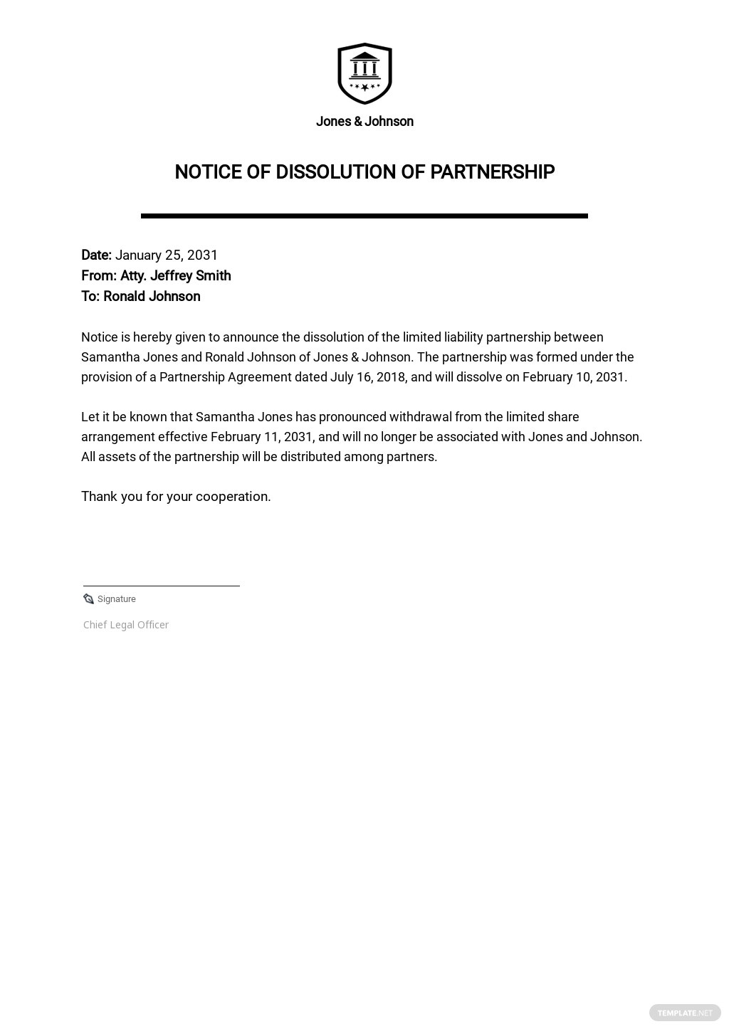 Notice of Dissolution Partnership Template.jpe