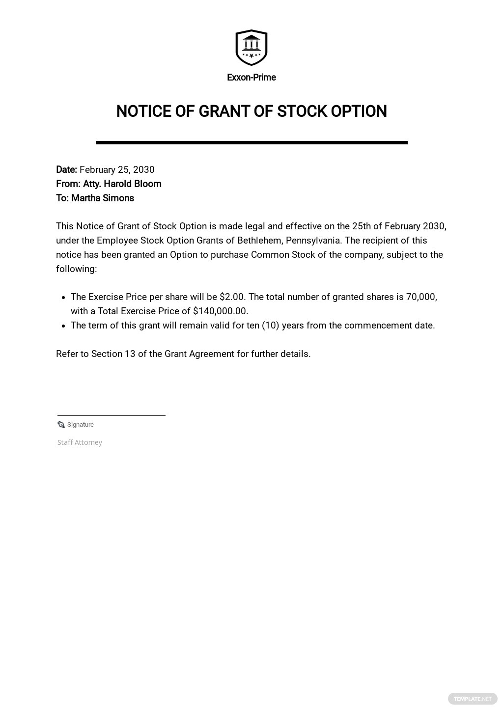 Notice of Grant of Stock Option Template.jpe