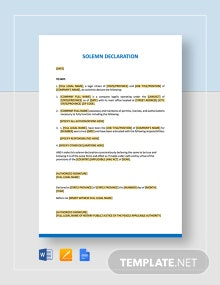Solemn Declaration Template
