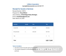 Receipt for Goods or Services Template