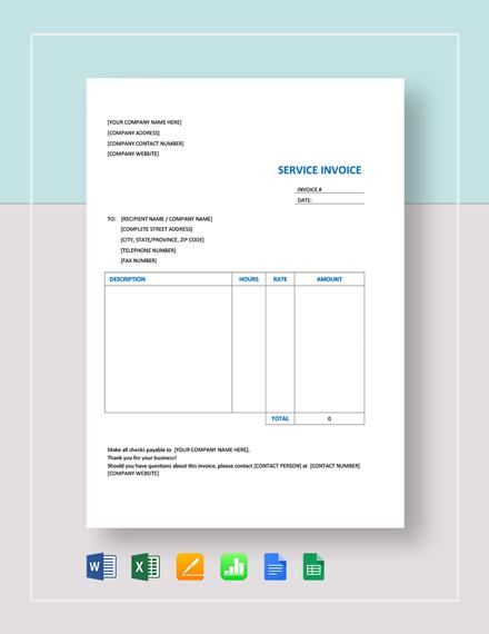 Service Invoice Template