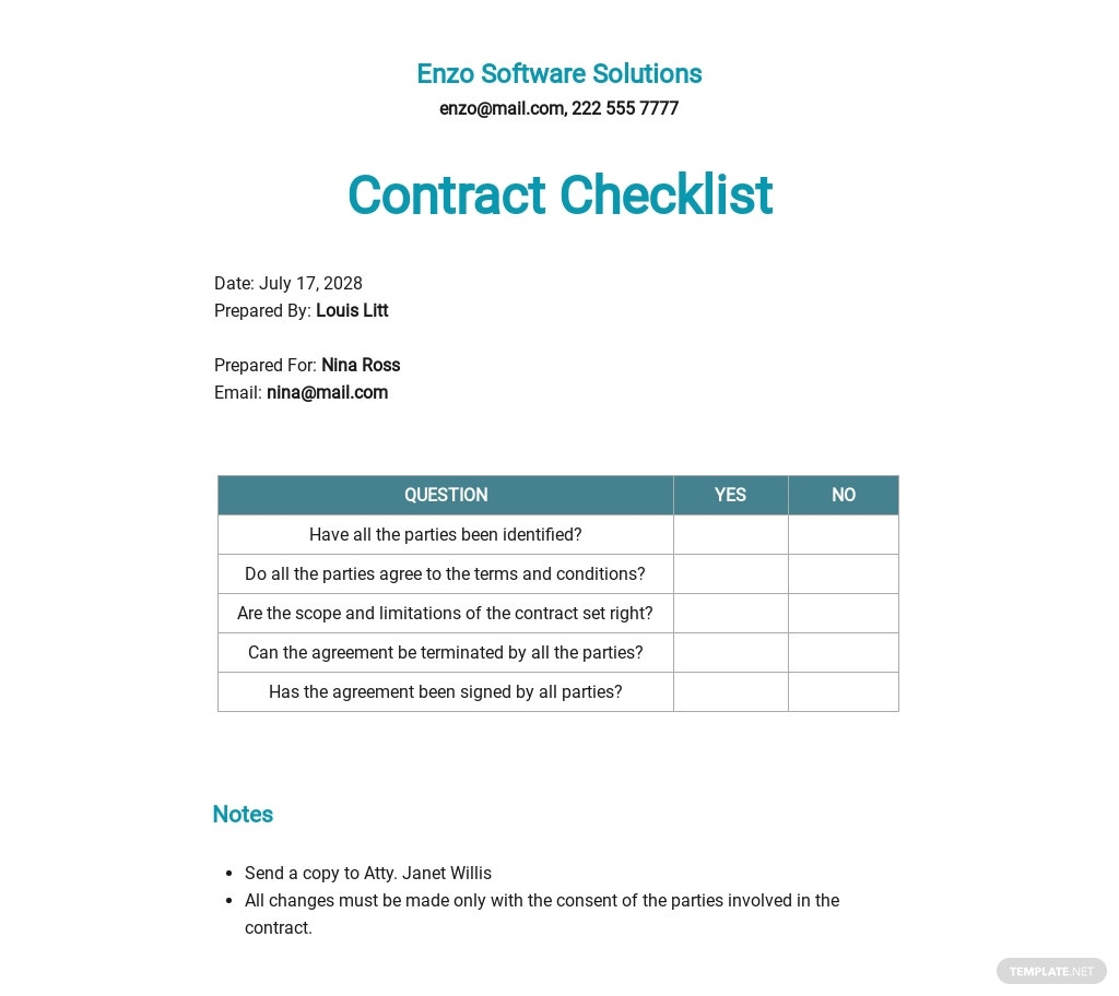 Checklist Software Development Contract Template