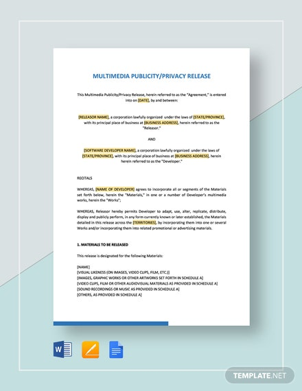 Multimedia Publicity Privacy Release Template