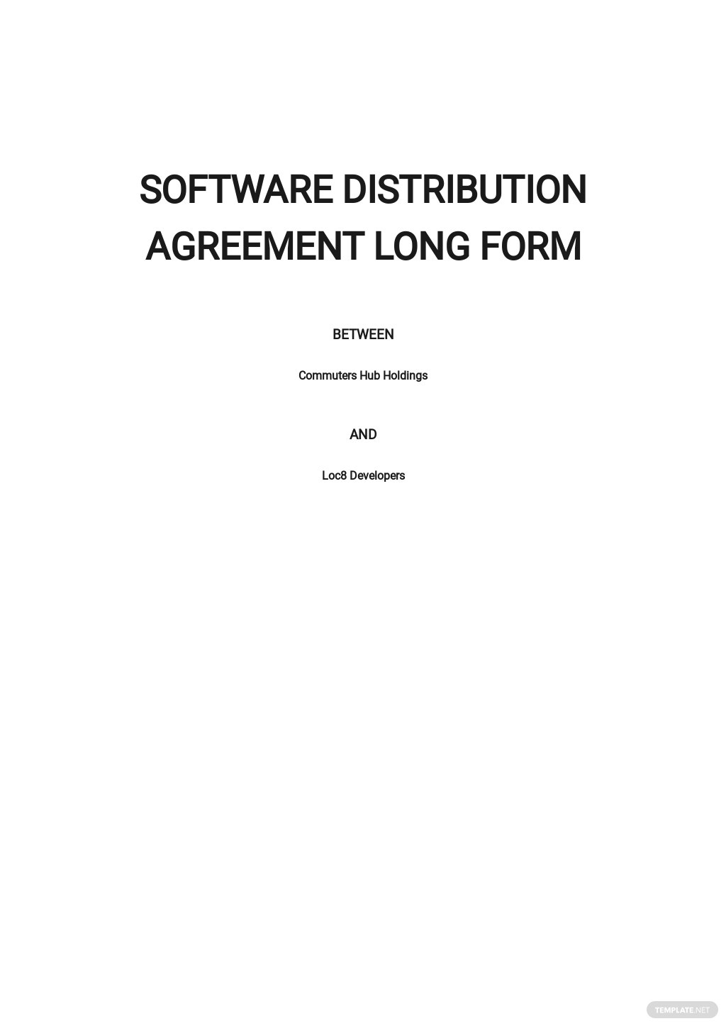 Software Distribution Agreement Long Form Template