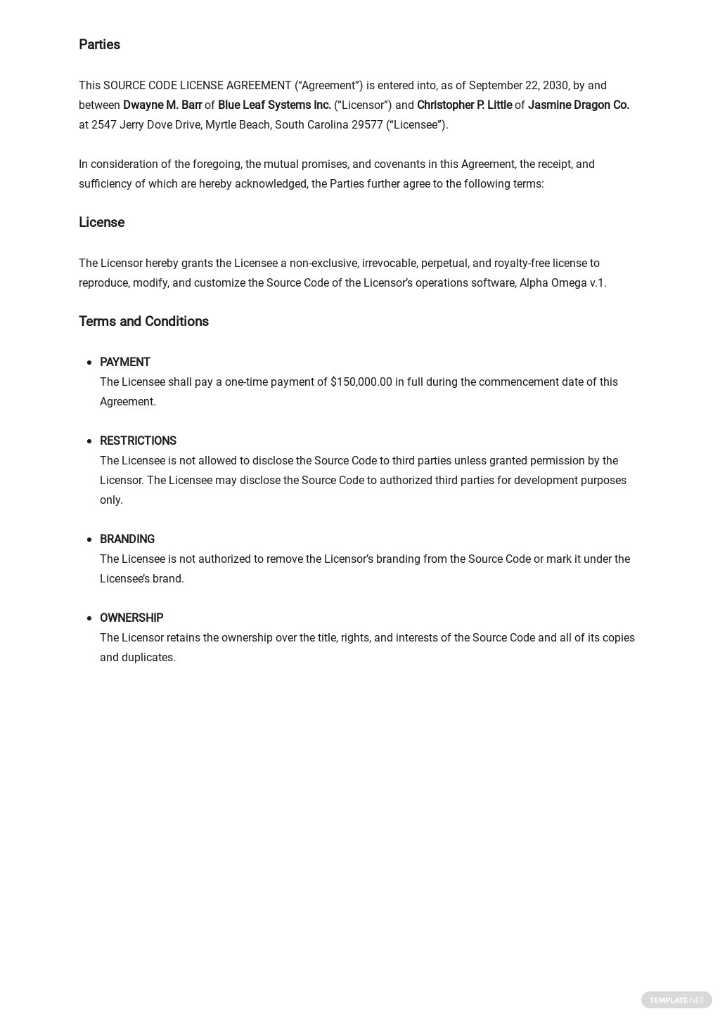 Source Code License Agreement Fully Paid Up, Royalty Free Template 1.jpe