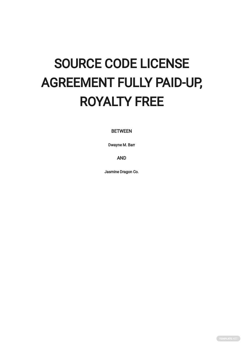 Source Code License Agreement Fully Paid Up, Royalty Free Template.jpe
