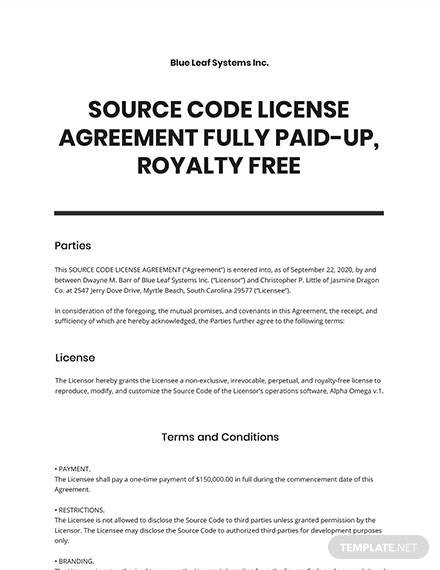 Source Code License Agreement Fully Paid-Up, Royalty Free Template