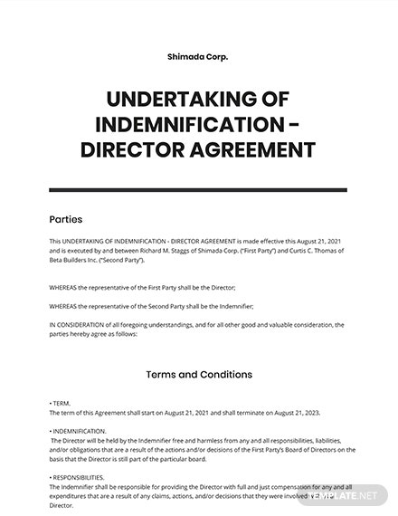 Undertaking of Indemnification Director Template