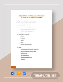 Checklist Drafting Multimedia and Technology Licensing Agreement Template