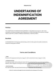 Undertaking of Indemnification Template