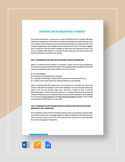Checklist for Establishing a Website Template