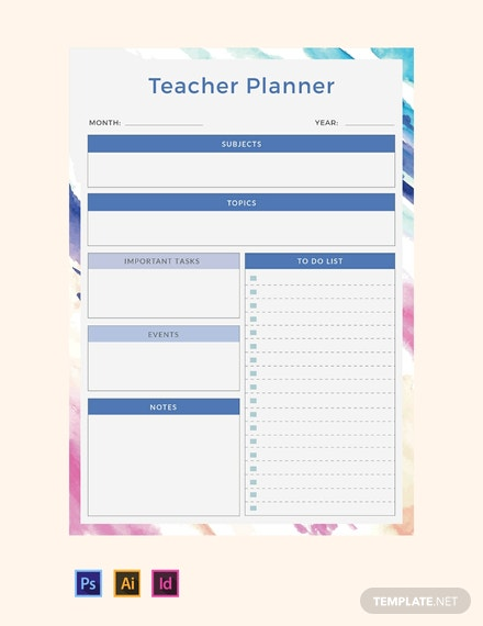 Free Teacher Planner Template Download 32 Planners In Psd