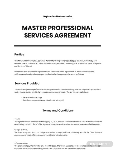 Master Professional Services Agreement Template