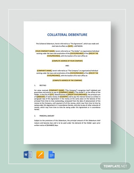 Collateral Debenture Template