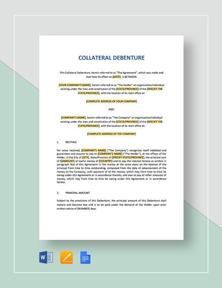 Collateral Debenture Template