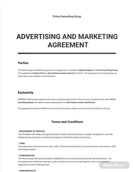 Advertising and Marketing Agreement Template