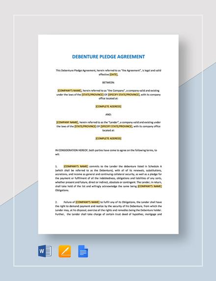 Debenture Pledge Agreement Template
