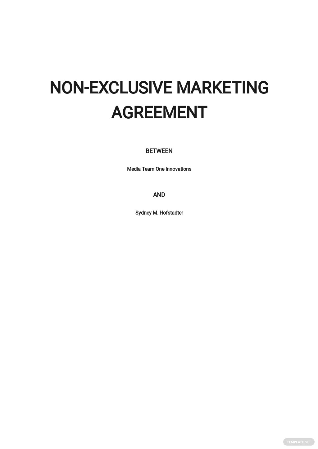 Non-Exclusive Marketing Agreement Template