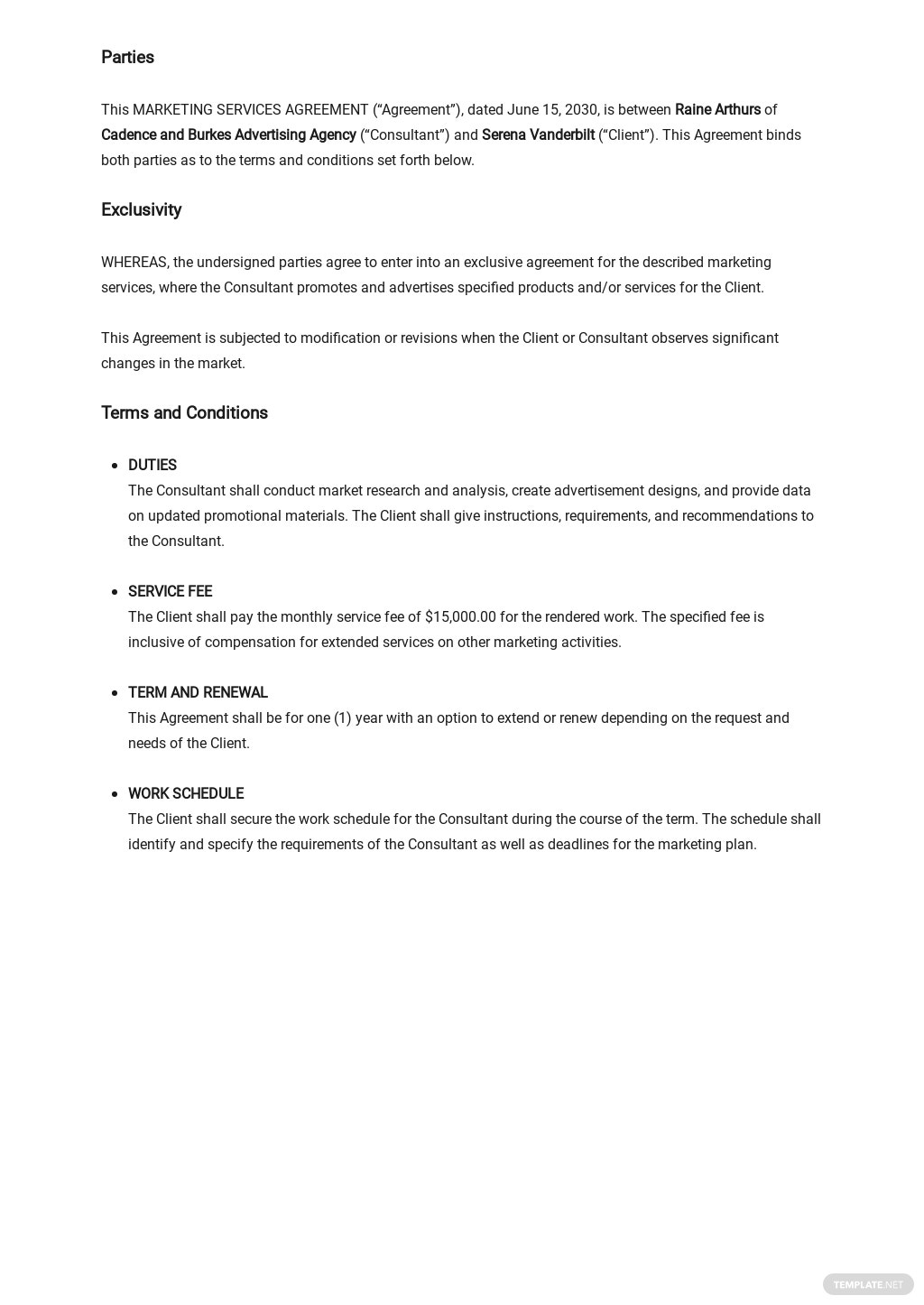 Marketing Services Agreement Template [Free PDF] - Google Docs, Word, Apple Pages
