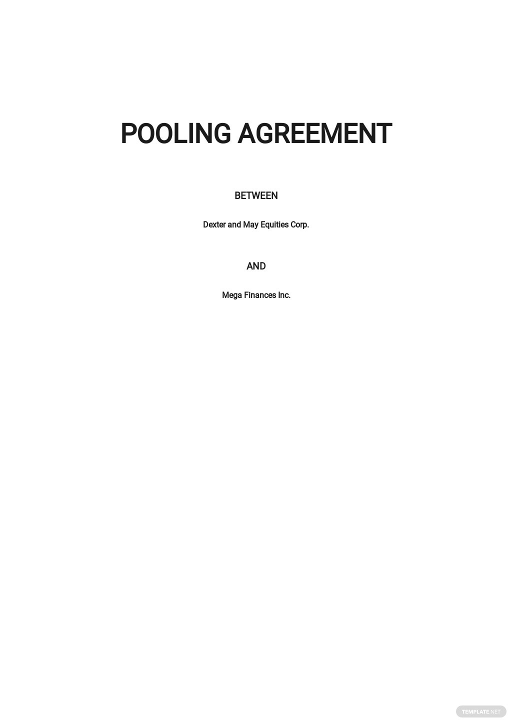 Pooling Agreement Template