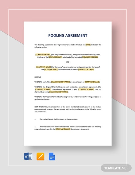 pooling agreement