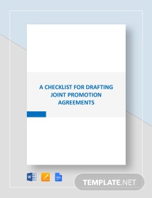 Checklist Drafting Joint Promotion Agreements Template