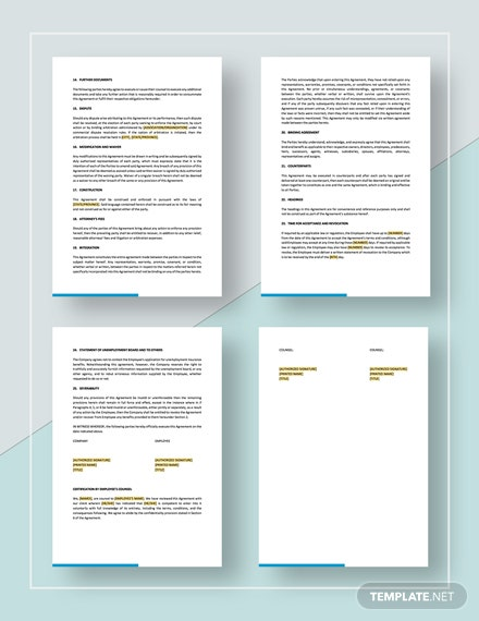 Simple Separation and Release Agreement