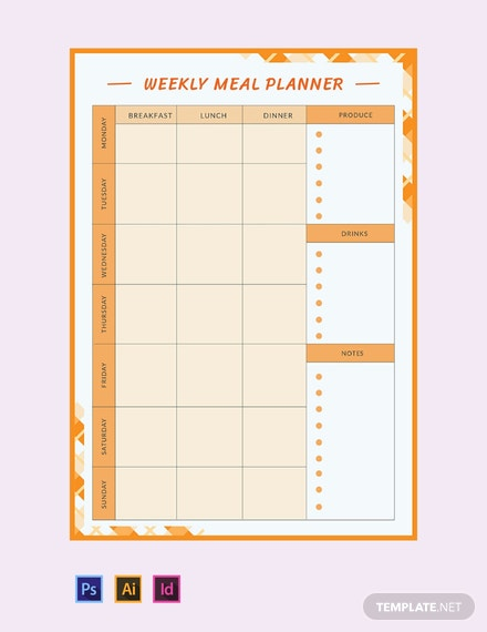 Free Weekly Meal Planner Template