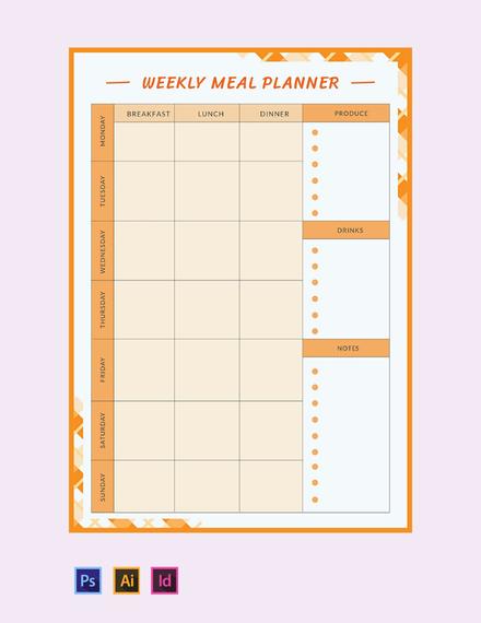 Free Weekly Meal Planner Template