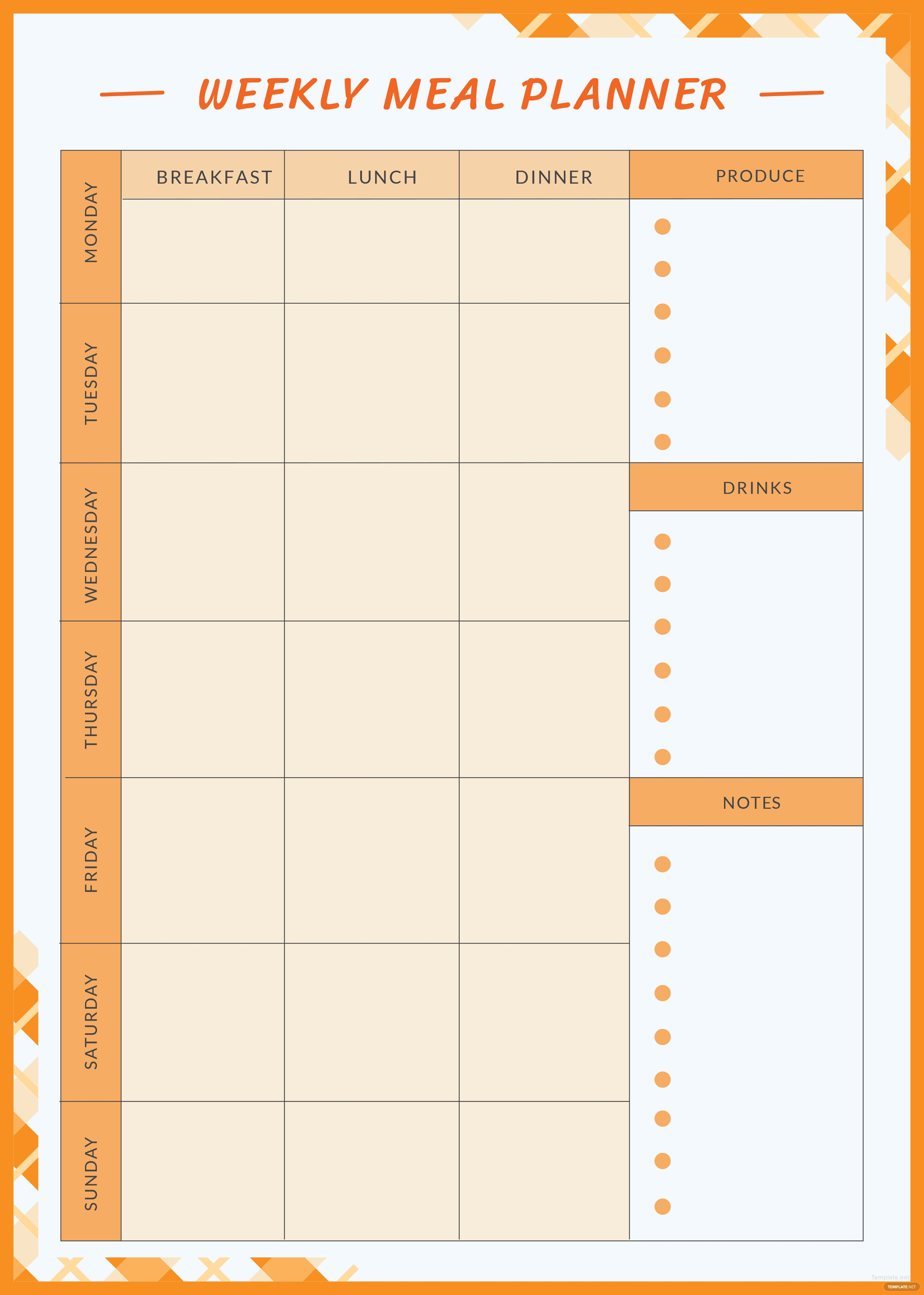 click to see full template weekly meal planner template free download