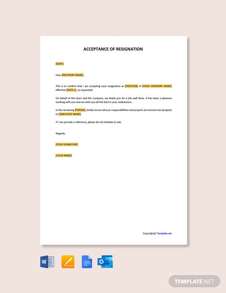 Free Acceptance of Resignation Template