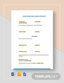 Signature and Name Affidavit Template