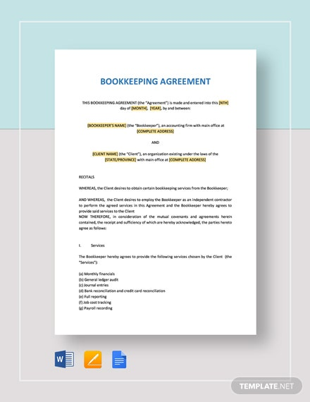 Bookkeeping Agreement Template Word Google Docs Apple