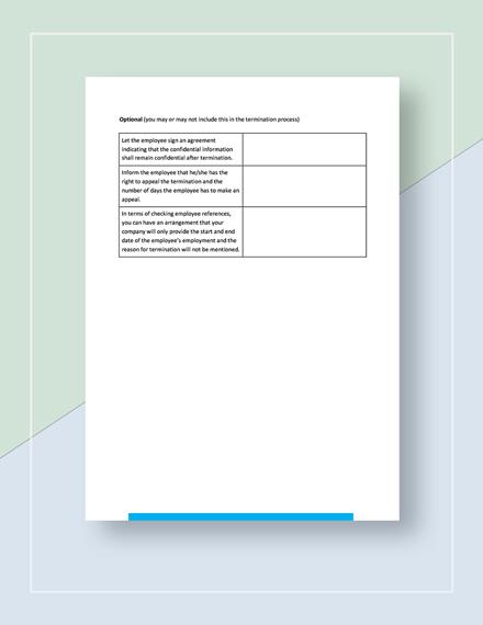 Sample Worksheet Termination of Employment