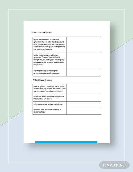 Worksheet Termination of Employment Download