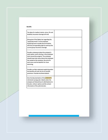 Worksheet Termination of Employment Template