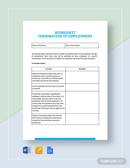 Worksheet Termination of Employment Template