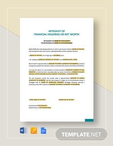 Affidavit of Financial Holdings or Net Worth Template
