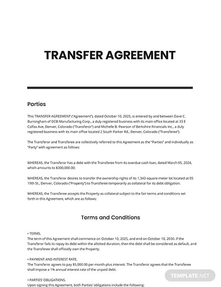 Agreement of Transfer Template