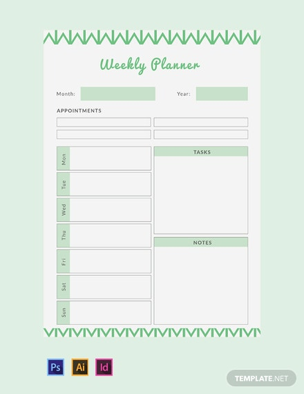 image regarding Free Weekly Planner known as No cost Weekly Planner Template - Phrase Excel PSD InDesign