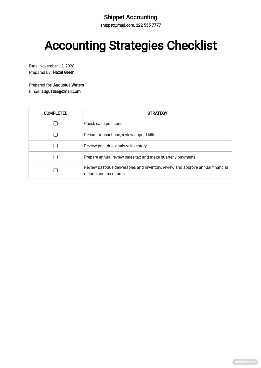 Possible Accounting Strategies Checklist Template