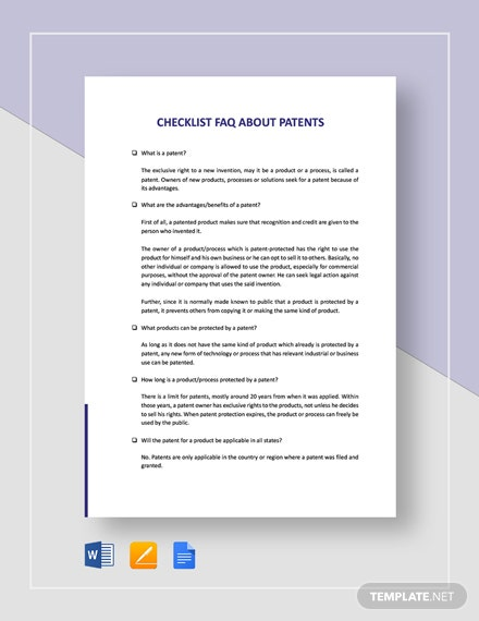 Checklist FAQ About Patents Template